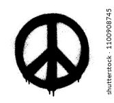 peace symbol vector icon. spray ... | Shutterstock .eps vector #1100908745