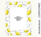 hand drawn lemon frame. ink... | Shutterstock .eps vector #1100913482