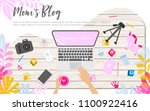 workplace of mother blogger ... | Shutterstock .eps vector #1100922416