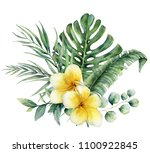 watercolor floral tropical... | Shutterstock . vector #1100922845