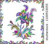 flowers on white  green and... | Shutterstock .eps vector #1100923055