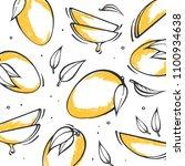 yellow hand drawn mango... | Shutterstock .eps vector #1100934638