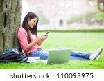 a beautiful hispanic college... | Shutterstock . vector #110093975