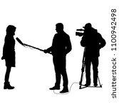 cameraman with video camera.... | Shutterstock . vector #1100942498
