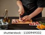 the chef prepares raw quail... | Shutterstock . vector #1100949332