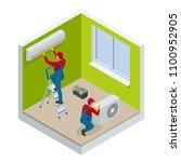 isometric technician repairing... | Shutterstock .eps vector #1100952905