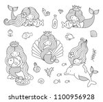 beautiful little mermaids. set... | Shutterstock .eps vector #1100956928