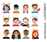 face painting kids. children... | Shutterstock .eps vector #1100958845
