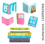 books collection clipart for... | Shutterstock .eps vector #1100963366