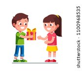 smiling little boy kid giving... | Shutterstock .eps vector #1100968535