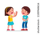 laughing boy and girl kids... | Shutterstock .eps vector #1100968616