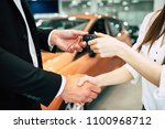 the visit to the dealership... | Shutterstock . vector #1100968712