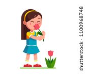 preschool girl kid holding... | Shutterstock .eps vector #1100968748