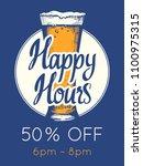happy hours poster. vector... | Shutterstock .eps vector #1100975315
