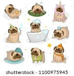 cute pug dog set. hand drawn... | Shutterstock .eps vector #1100975945