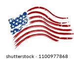 grunge american usa flag  ... | Shutterstock . vector #1100977868