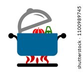vector cooking pot illustration ... | Shutterstock .eps vector #1100989745