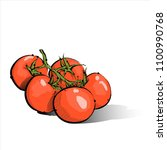 hand draw of cherry tomato.... | Shutterstock .eps vector #1100990768