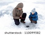 winter fishing family leisure...   Shutterstock . vector #110099582