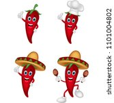 cartoon chili collection set | Shutterstock .eps vector #1101004802