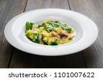 pasta fettuccine with chicken ...   Shutterstock . vector #1101007622
