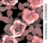 seamless pattern with roses....   Shutterstock .eps vector #1101008882