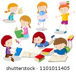 a set of kids reading book... | Shutterstock .eps vector #1101011405
