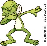 dabbing cartoon frog. vector... | Shutterstock .eps vector #1101019325