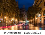 night street view in valencia... | Shutterstock . vector #1101020126