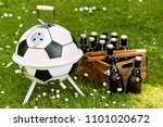 themed soccer ball shaped bbq... | Shutterstock . vector #1101020672