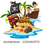 pirate and happy kids at island ... | Shutterstock .eps vector #1101041972