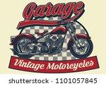 vintage motorcycle design | Shutterstock .eps vector #1101057845