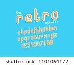 the bold retro creative font... | Shutterstock .eps vector #1101064172