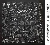 restaurant doodle set. hand...   Shutterstock .eps vector #1101072815
