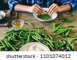 healthy food concept. woman... | Shutterstock . vector #1101074012