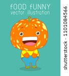 pumpkin funny cartoon poster... | Shutterstock .eps vector #1101084566