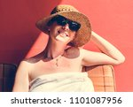 caucasian woman sunbathing in... | Shutterstock . vector #1101087956