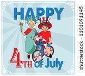 patriotically dressed kids on... | Shutterstock .eps vector #1101091145