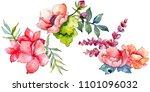 pink bouquet wildflower. floral ...   Shutterstock . vector #1101096032