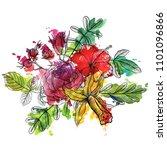vintage vector floral... | Shutterstock .eps vector #1101096866