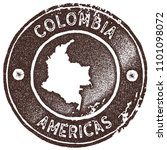 colombia map vintage brown... | Shutterstock .eps vector #1101098072