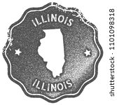 illinois map vintage grey stamp.... | Shutterstock .eps vector #1101098318