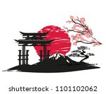 card with asian landscape | Shutterstock . vector #1101102062