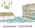 grocery store shop interior... | Shutterstock .eps vector #1101102458