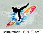 martial arts. high kick   Shutterstock .eps vector #1101110525