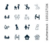 mother icon. collection of 16... | Shutterstock .eps vector #1101127136