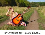 young woman with guitar. hippie ... | Shutterstock . vector #110113262