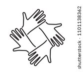 connected linear hands icon... | Shutterstock .eps vector #1101138362