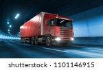 trailer truck rides trough... | Shutterstock . vector #1101146915