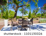 beautiful white terrace in the... | Shutterstock . vector #1101150326